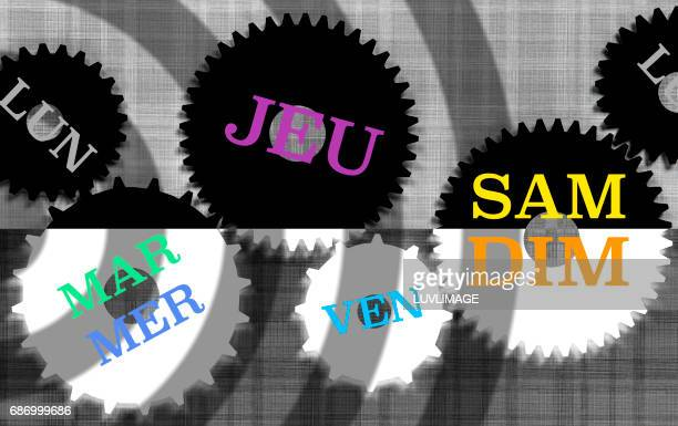 the days of the week in french language spread over a set of gears. - day of the week stock pictures, royalty-free photos & images
