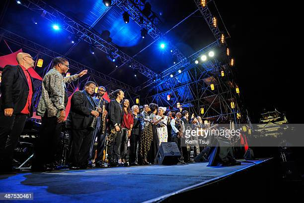 The day's performers gather on stage at the end of the 2014 International Jazz Day Global Concert on April 30 2014 in Osaka Japan