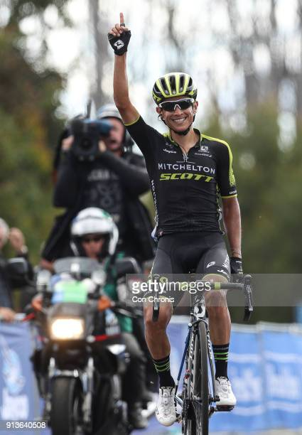 The days stage winner Esteban Chaves of Columbia and the MitcheltonScott Team rides in the Jayco Herald Sun Tour stage 3 218km road race from...