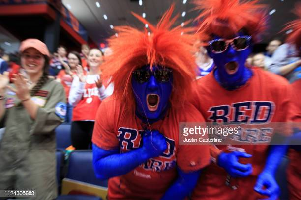 The Dayton Flyer fans cheer their team on in the game against the George Mason Patriots at UD Arena on January 23, 2019 in Dayton, Ohio.