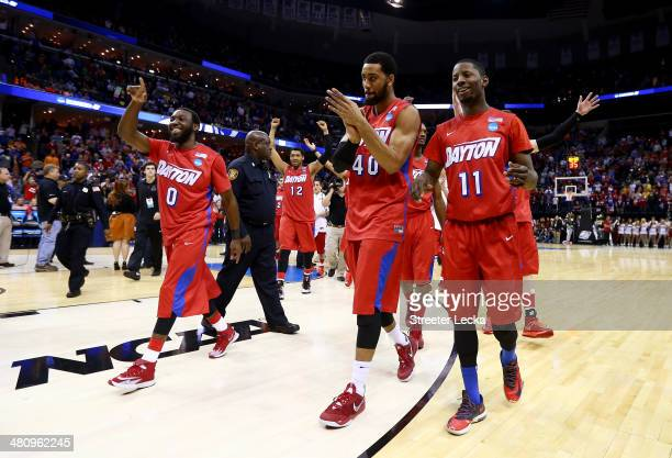 The Dayton Flyers walk off the floor after defeating the Stanford Cardinal 82-72 in a regional semifinal of the 2014 NCAA Men's Basketball Tournament...
