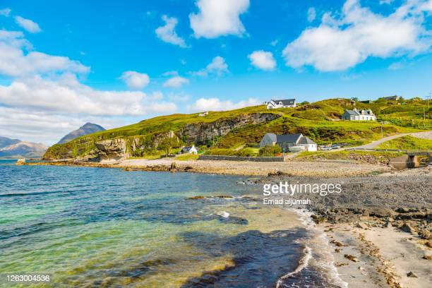 the dazzling gems of claigan coral beach in dunvegan - isle of skye (uk) - volcanic terrain stock pictures, royalty-free photos & images