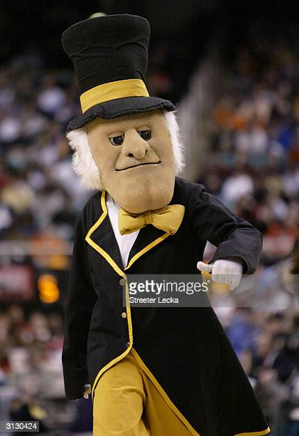 The Deacon the mascot for the Wake Forest Demon Deacons on the court in the ACC Quarterfinal game against the Maryland Terrapins on March 12 2004 at...