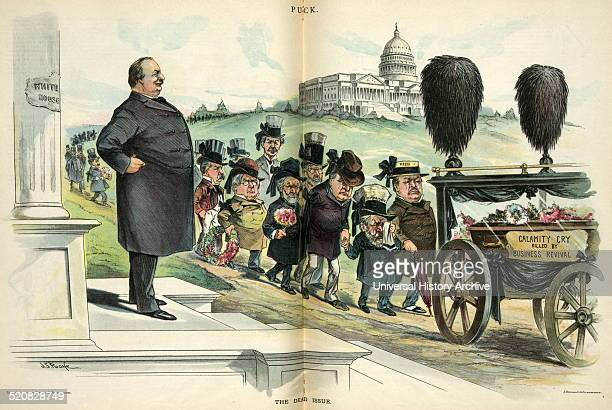 The dead issue' President Cleveland standing on the steps of the 'White House' watching a funeral procession with the hearse labelled 'Calamity Cry...