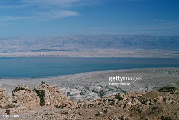 The Dead Sea as seen from Masada an ancient fortification on a rock plateau in the Southern District of Israel 1975