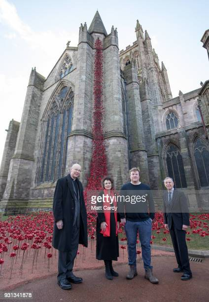 The Dean of Hereford Michael Tavinor Jenny Waldman Director of 1418 NOW artist Paul Cummins and Cllr Mike Smart poses for a photograph with the...