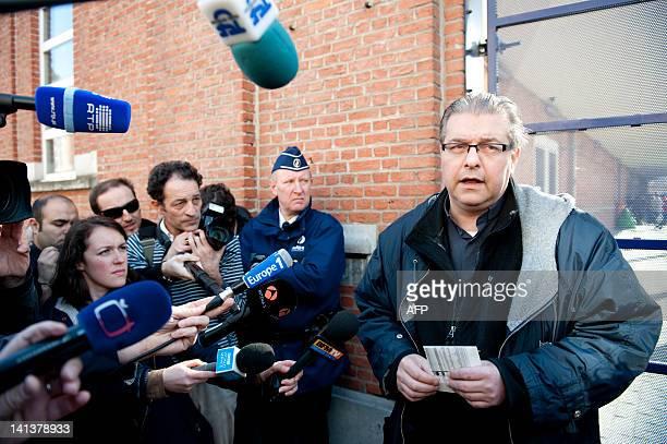 The dean of Leuven Dirk De Gendt talks to journalists in front of the entrance of the primary school SintLambertusschool in Heverlee on March 15 2012...
