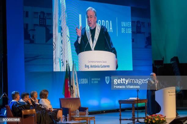 The Dean of Lisbon University Antonio da Cruz Serra Portuguese President Marcelo Rebel de Sousa and the President of the Champalimaud Foundation...