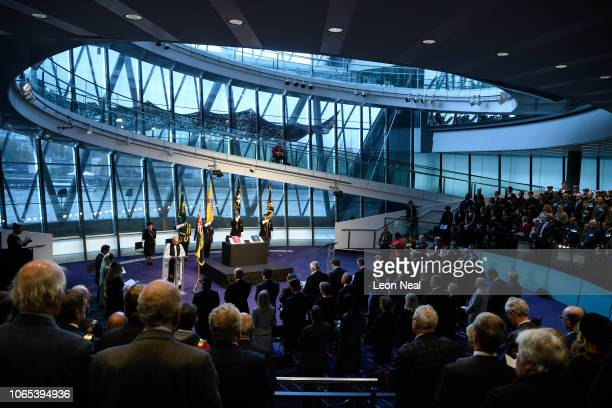 The Dean of Southwark Andrew Nunn addresses the guests during the Remembrance service in City Hall on November 09, 2018 in London, United Kingdom....