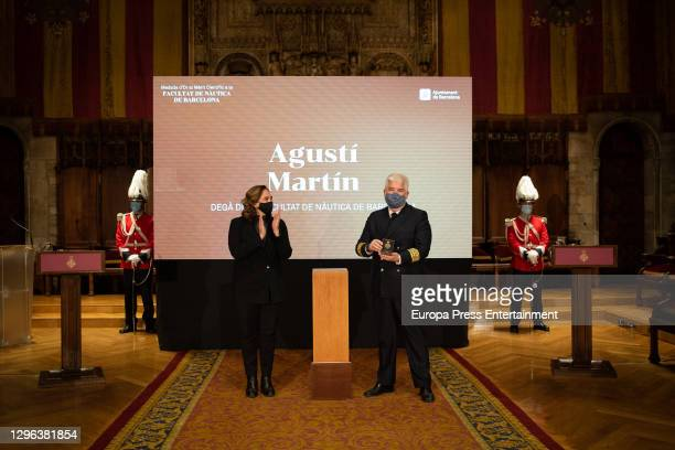 The Dean of the Faculty of Nautics of Barcelona, Agusti Martin after being awarded the Gold Medal for Scientific Merit, the Faculty of Nautics of...
