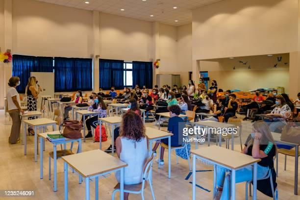 The dean of the Higher Institute Mons. Antonio Bello in Molfetta welcomes students in the conference room on the first day of school in Molfetta,...