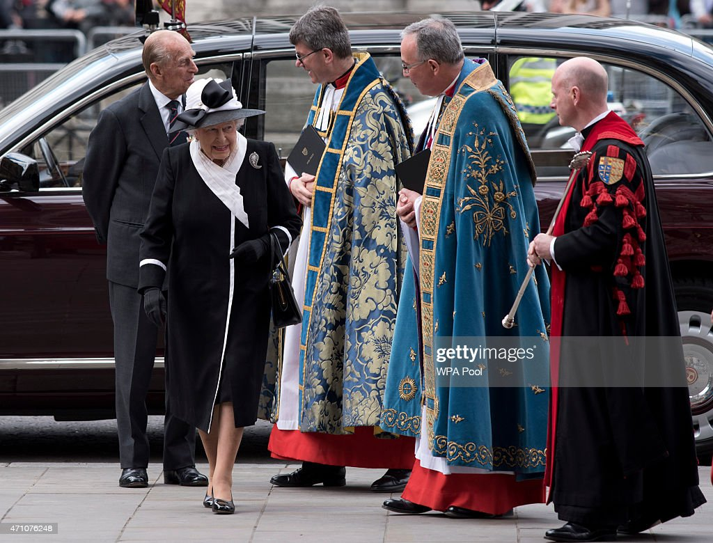 The Dean of Westminster Dr John Hall, (2nd R) greets Queen Elizabeth II and Prince Phillip, Duke Of Edinburgh as they arriive for a Service of Commemoration at Westminster Abbey to mark the centenary of the Gallipoli and Anzac campaigns at Westminster Abbey on April 25, 2015 in London, England.