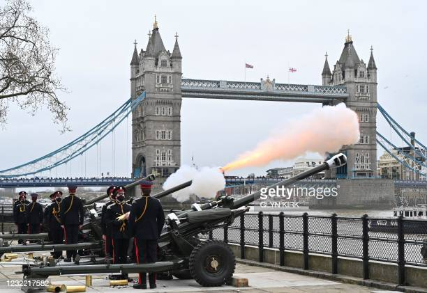The Death Gun Salute is fired by the Honourable Artillery Company to mark the passing of Britain's Prince Philip, Duke of Edinburgh, at the The Tower...