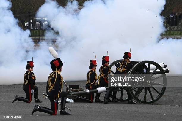 The Death Gun Salute is fired by The Kings Troop Royal Horse Artillery to mark the passing of Britain's Prince Philip, Duke of Edinburgh, at the...