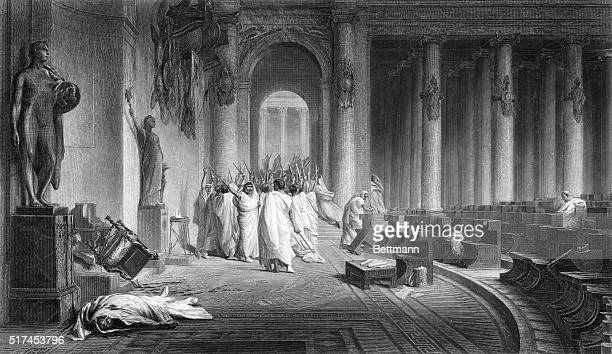 The Death Of Caesar Julius Caesar The death of Caesar in the Roman Senate Engraving after a painting by J L Gerome Undated illustration