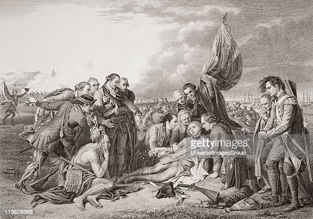 The death of General Wolfe on the Heights of Abraham Quebec Canada September 13 1759 James Wolfe 17271759 British general Engraved by T Brown after...