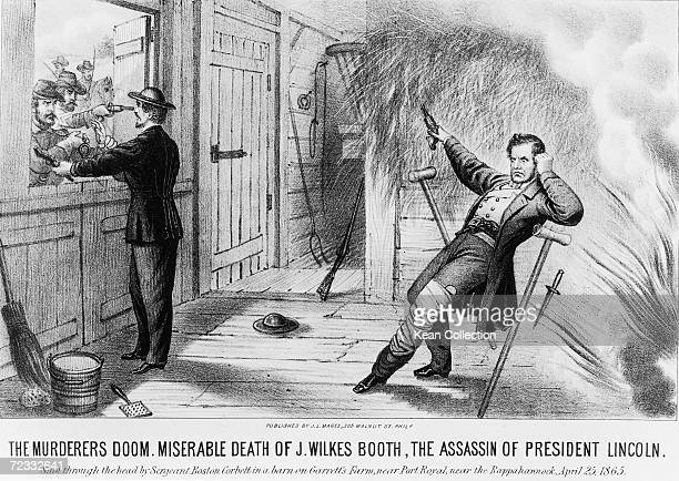 The death of John Wilkes Booth , the assassin of American President Abraham Lincoln, at Richard Garrett's farm in Virginia, 26th April 1965. Booth's...