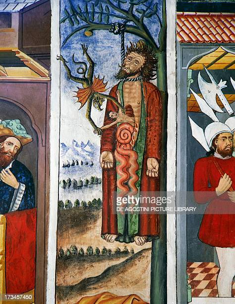The death of Judas, Life of Christ , frescoes, Chapel of St Sebastian, Villard-de-Lans, Rhone-Alpes, France.