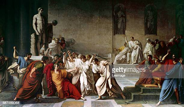 The death of Julius Caesar in the Roman Senate painting by Vincenzo Camuccini Napoli Museo Nazionale di Capodimonte