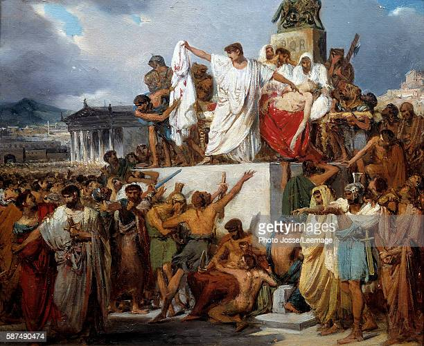 The death of Julius Caesar stabbed by Brutus among others the result of a conspiracy during the Ides of March religious festivities Painting by...