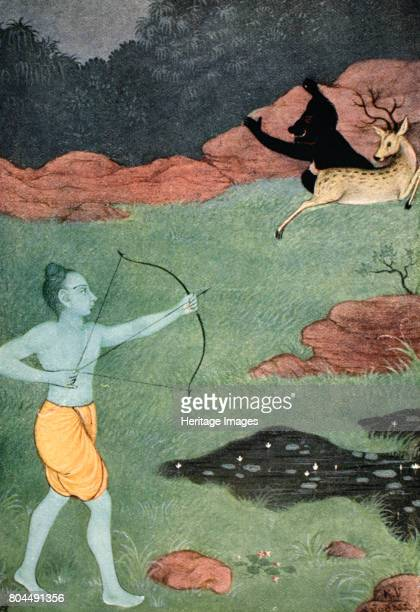 The death of Maricha, 1913. A scene from the Hindu epic, the Ramayana. Maricha takes the form of a golden deer and is killed by Rama. Illustration...