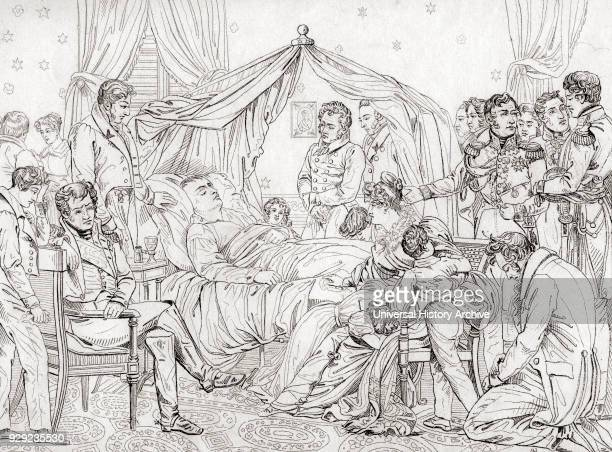 The death of Napoleon May 5 at Longwood House St Helena Napoleon Bonaparte 1769 – 1821 After the painting by Charles Auguste Steuben French military...