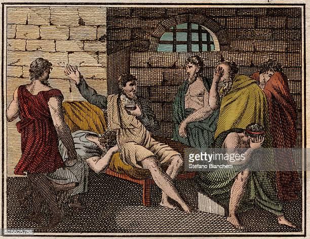 The death of Socrates Greek philosopher Engraving from Le Rollin de la jeunesse ou Morceaux choisis des Histoires Ancienne et Romaine 1816 Private...