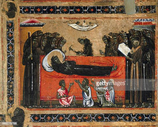 The death of St Francis of Assisi Detail of the altarpiece of San Francesco d'Assisi painting by Maestro del San Francesco Bardi Florentine school...