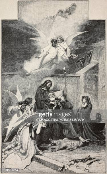 The death of St Joseph painting by Ponziano Loverini Italy engraving by G Cantagalli from L'Illustrazione Italiana Year XX No 12 March 19 1893