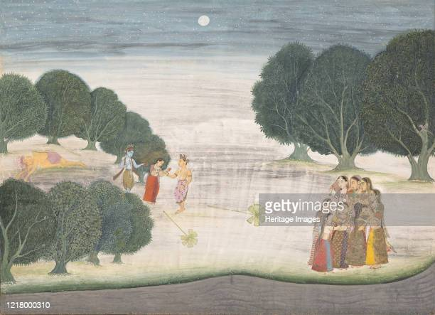 The Death of the Giant Shankachura: Page from a Dispersed Bhagavata Purana , 1680-90. Krishna, and his brother, Balarama, fight the demon and take...