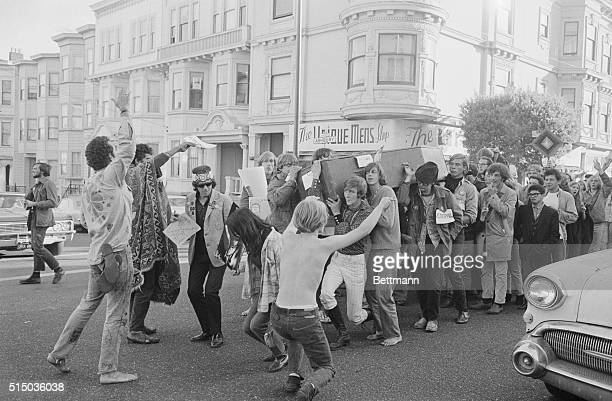 'The Death of the Hippie' San Francisco California More than 100 hippies hold rites celebrating 'the death of the hippie' as they parade down Haight...