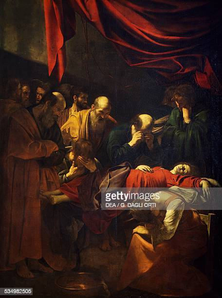 The Death of the Virgin 16011606 by Michelangelo Merisi da Caravaggio oil on canvas 369x245 cm Italy 17th century Paris Musée Du Louvre