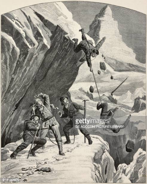 The death of two mountaineers during the ascent to the Matterhorn August 7 ItalySwitzerland engraving after a drawing by Gino Starace from...