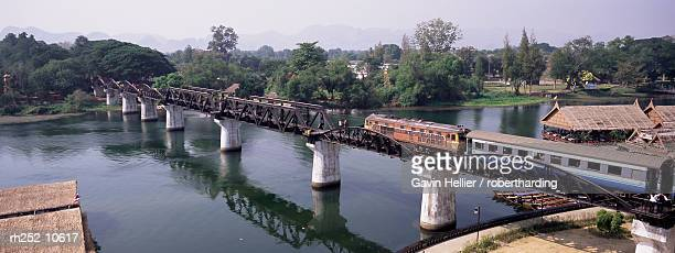 the death railway bridge on the river kwai (saphan mae nam khwae yai), kanchanaburi, kanchanaburi province, thailand, southeast asia, asia - bridge over the river kwai stock pictures, royalty-free photos & images