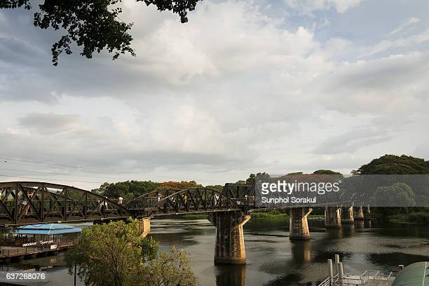 the death railway, river kwai bridge in the evening - bridge over the river kwai stock pictures, royalty-free photos & images