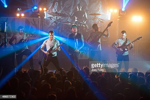 The Deathcore band Chelsea Grin performs live onstage at The Emerson Theater on March 16 2015 in Indianapolis Indiana