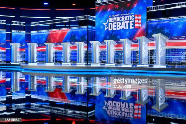 The debate stage is prepared for the upcoming Democratic Presidential Debate hosted by MSNBC and The Washington Post at Tyler Perry Studios in...