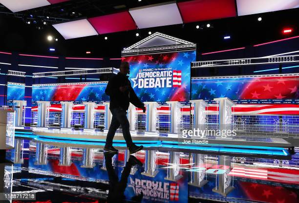 The debate stage is seen as it is prepared for the Washington Post and MSNBC fifth Democratic presidential primary debate at the from Tyler Perry...