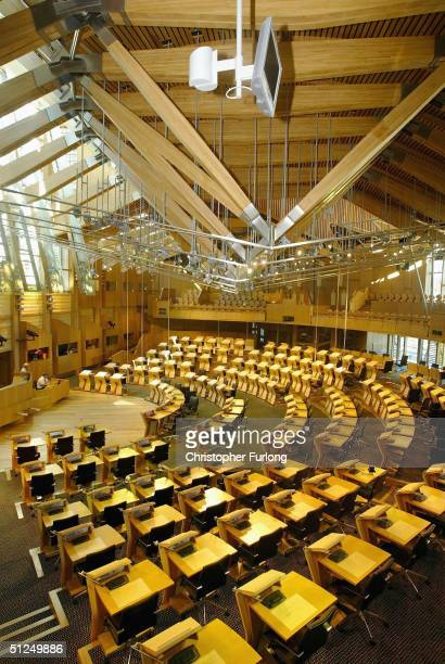 The debating chamber of the new Scottish Parliament building is pictured on August 31 2004 at Holyrood in Edinburgh Scotland The uniquely designed...