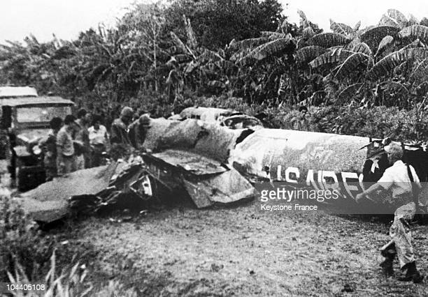 The debris of an American U-2 airplane shot down by the Cubans during the 1962 missile crisis is scattered over the ground. The airplane, piloted by...