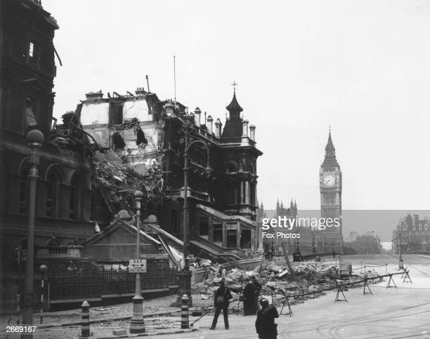 The debris of St Thomas's Hospital London the morning after receiving a direct hit during the Blitz in front of the Houses of Parliament and Big Ben
