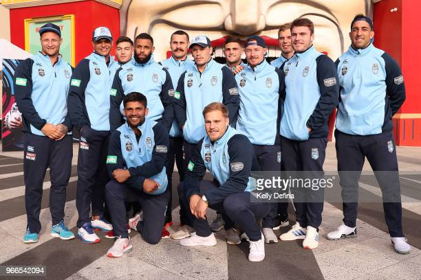 The debutante group of the Brydens Lawyers NSW Blues pose during a New South Wales Blues State of Origin Media Opportunity at Luna Park on June 3...