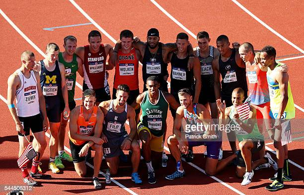 The decathletes pose for a group photo after the Men's Decathlon during the 2016 US Olympic Track Field Team Trials at Hayward Field on July 3 2016...