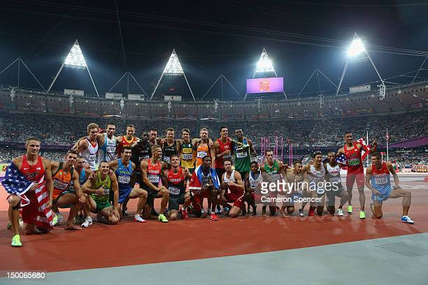 The Decathlon athletes pose for a photo after the Men's Decathlon 1500m on Day 13 of the London 2012 Olympic Games at Olympic Stadium on August 9,...