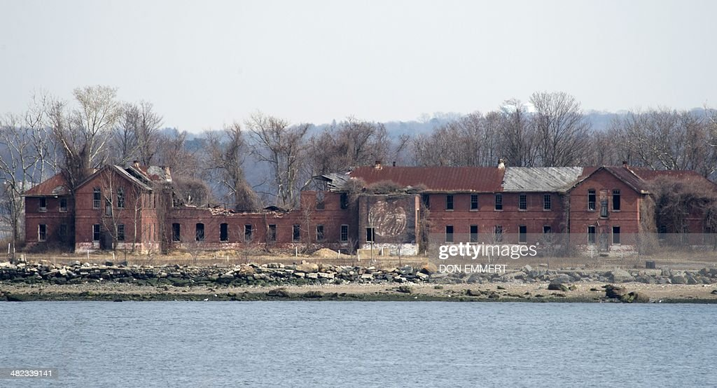 The decaying abandoned prison workhouse on Hart Island March