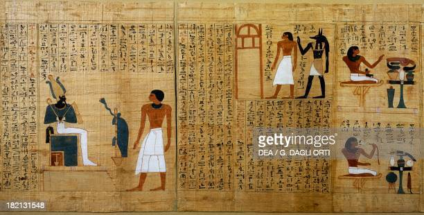 The deceased accompanied by Anubis and the deceased before Osiris detail from the Mythological papyrus of Imenemsauf chief bearer of Amon Egyptian...