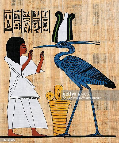 The deceased in adoration of a phoenix papyrus reconstruction of a fresco from the Theban tomb of Anherkha original dating from the Dynasty XX...