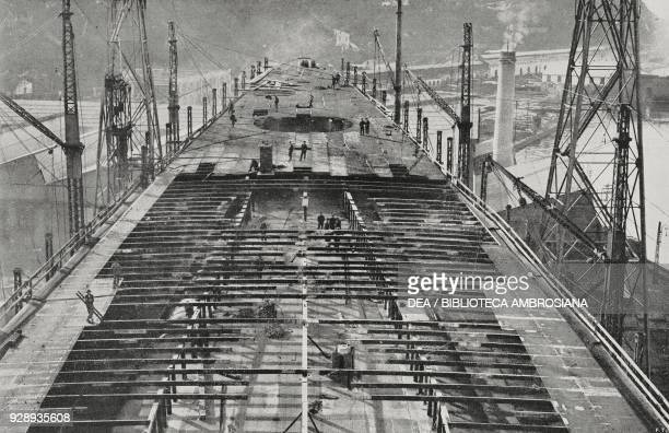 The deck of the battleship Caracciolo of the Italian Royal Navy construction phase in December 1915 Castellammare di Stabia Italy photo by G Garzia...