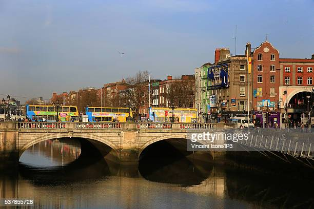 The decker buses pass on O Connell bridge on April 21 2016 in Dublin Ireland Illustrative picture of the Irish capital city center
