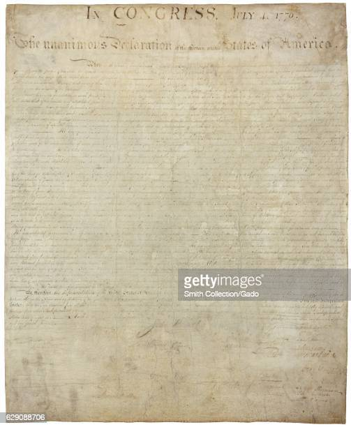 The Declaration of Independence setting forth the list of grievances against the British Crown and declaring they were breaking free of their rule...